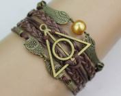 Harry Potter Bracelet, Golden Snitch and Owls Bracelet, Deathly Hallows Bracelet,friendship Bracelet