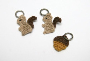 Lantern Moon Handcrafted Squirrel and Acorn Knitting Stitch Markers