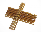 Easy More 12 Sizes Carbonised Bamboo Crochet Hook Knitting Needles 3.0-10.0mm