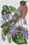 Wisconsin State Bird and Flower Counted Cross Stitch Pattern