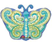 Blue Paisley 46cm Butterfly Mylar Balloon
