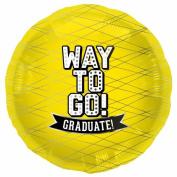 Way To Go Yelllow-Round 46cm Foil Balloon