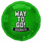 Way To Go Green-Round 46cm Foil Balloon