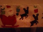 Santa with Reindeer Reuseable and Washable Gel Clings 46cm Display