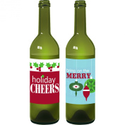 Holiday Party Wine Bottle Decorations - Christmas Party Decorations - Wine Bottle Clings - 2 Count