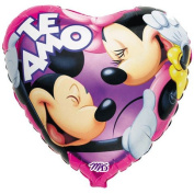 Te Amo 46cm Mickey & Minnie Heart Shaped Mylar Balloon