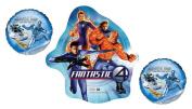 Marvel Fantastic Four & Silver Surfer Foil Balloon Bouquet - SuperHero Mylar Party Balloon Bundle