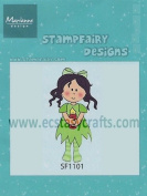 Ecstasy Crafts Stampfairy Cling Stamp - Betty Christmas - Girl Holding Candle