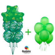 Qualatex Happy St Patricks Day Irish For A Day Shamrocks 14pc Balloon Bouquet - Decorations