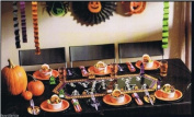 Halloween Party Kit - 24-piece Black & Orange Skeleton Decorations