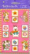 Easter Bunnies Eggs Flowers Scrapbook Stickers