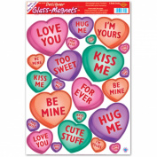 Valentine Candy Heart Glass Clings 30cm . x 43cm . Sheet 1/Pkg