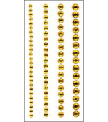 Crystal Stickers 4 Strips- Round - Yellow