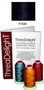 1 cone of ThreaDeligh Polyester Embroidery Thread - Navy Blue Dark P638 - 1100 yards - 40wt