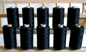 New ThreadsRus 10 Large BLACK Spools of 3-PLY Polyester Sewing Quilting Serger threads