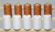 New ThreadsRus 10 LARGE BROWN & WHITE Spools of 3-PLY Polyester Sewing Quilting Serger threads from THREADSRUS