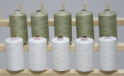 New ThreadsRus 10 LARGE OLIVE & WHITE Spools of 3-PLY Polyester Sewing Quilting Serger threads from THREADSRUS