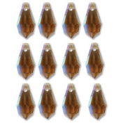 6.5x13mm Crystal Faceted Drop Smoked Topaz AB Beads 498 68 301 Package of 12