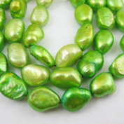 Freshwater Pearls 9.5-10mm Nuggets Light Green Colour