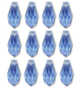 6.5x13mm Preciosa Czech Crystal Faceted Drop Sapphire Beads 498 68 301 Package of 12