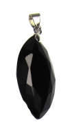 Bead Collection 41266 Cubic Zirconia Black Marquise Pendant, 28 by 14mm