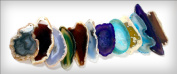 Thin Sliced Agate Pendants with Drilled Hole Set of 6 Assorted Colours