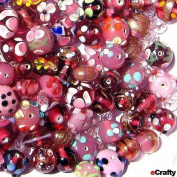 eCrafty EC-267 Jewellery Maker's Lampwork Crystal Bead Mix, 125gm, Pink Roses