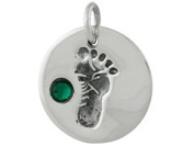 Sterling Silver Baby Feet Charm - Crystal May Birthstone