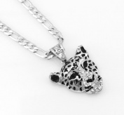 Hip-Hop Iced Silver Tone Tiger Pendant Necklace Free 60cm chain