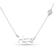 New 925 Sterling Silver Cz Inspirational 'Hope' Heart Necklace