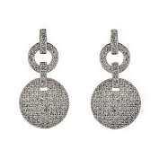 New Sterling 925 Silver Cirlce Cz Earrings with Gift Box