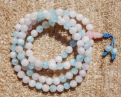The Art of CureTM (60cm ) Healing Jewellery & Mala meditation beads (108 beads on a strand) Healing semi-precious stones - Aquamarine & Rose Quartz Crystal