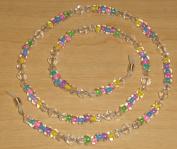 Pastel Rainbow Czech Glass Bead Mix Eyeglass Chain Holder
