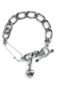 Juicy Couture Safety Pin Charm Bracelet Silver