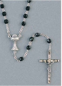 First Communion Rosary Beads Black Crystal 4mm Chalice Centrepiece, Includes Boys First Communion Rosary Case -Boxed