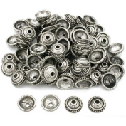 Bali End Bead Caps Antique Silver Plated Approx 100