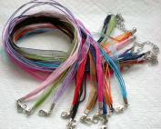 100pcs Mixcolor 4+1 Voile Ribbon Necklace Cord 46cm w/Extender~Jewellery Making~