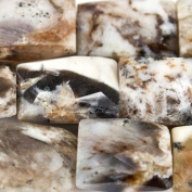 12mm Dendritic Opal Faceted Rectangle Beads, 15 inch