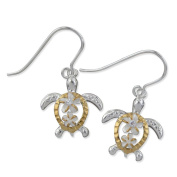 Sterling Silver with 14kt Yellow Gold Plated Accents Petroglyph Turtle Plumeria Dangle Earrings