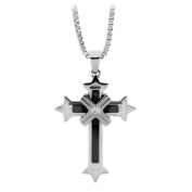 Stainless Steel Necklace Black Polished Cross Pendant with Cubic Zirconia in the Middle
