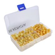BEADNOVA Natural Yellow Jade Gemstone Round Loose Beads with Bead Organiser Carry Case for Jewellery Making