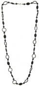 Genuine Black Onyx Gemstone Cabochon XL Long Sterling Silver Strand Necklace, 100cm L