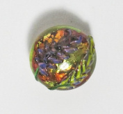 Handmade Flameworked Glass Beautiful Lavender Button By Leah Fairbanks of Gardens of Glass