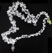 Set of 2 Clear and White Beaded Peace Doves with Hanging Crystal 20cm