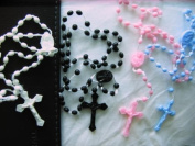 Rosarybeads 100 X White Black Pink Blue Plastic Rosary Beads Prison Issue