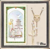 Catholic Confirmation Holy Spirit Rosary with White Pearls and Prayer Card by Bliss Manufacturing
