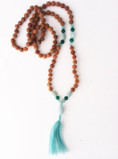 Amazonite Rudraksha 7mm, Semi-Precious Pendant and Beads 108 Prayer Beads Malaa