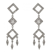 New 925 Sterling Silver Cz Dangle Chandelier Earrings with Gift Box