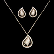 18k White Gold Teardrop Crystal Pendent Necklace with Crystal Stud Earrings