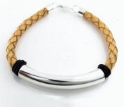 Geolin Jewellery Beyond - Scandinavian Luxury Sterling Silver Leather Bracelet, Beige